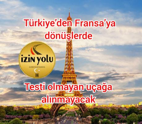 Türkiye'den Fransa'ya dönüşlerde, Testi olmayan uçağa alınmayacak